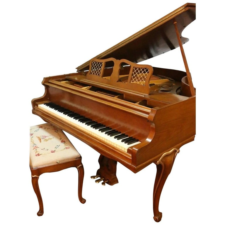 Art Case Chippendale Style Walnut Knabe Baby Grand Piano with Gold Trim 1