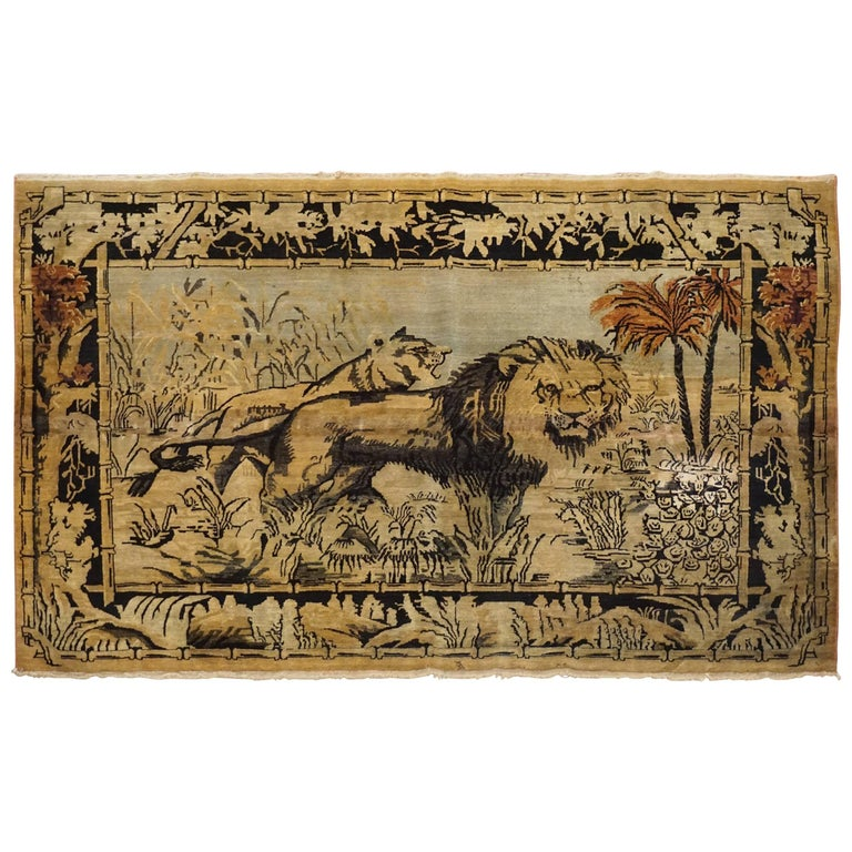Antique Cotton Agra Rug With Abrash Circa 1900 For Sale: Antique Indian Agra Pictorial Rug, Circa 1900 For Sale At