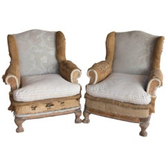 Pair of Antique Queen Anne Deconstructed Wingback Chairs