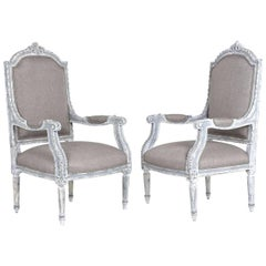 Pair of Antique French Louis XVI-Style Armchairs