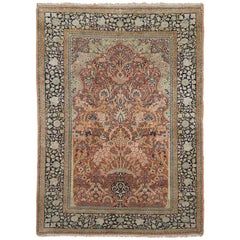 1960s Persian Pure Silk Kashmir Rug