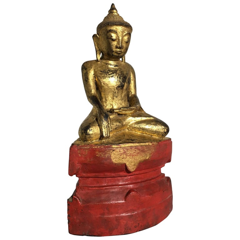 Shan Burmese Lacquered and Gilt Wood Buddha, Ava Period, 18th Century For Sale
