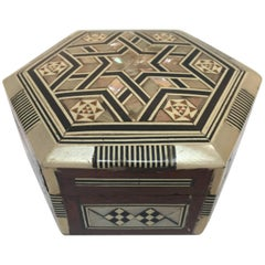 Syrian Moorish White Mother-of-Pearl Inlaid Octagonal Box