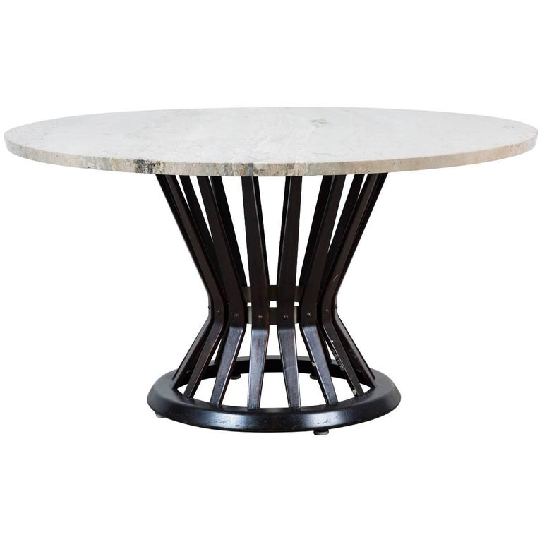Sheaf of Wheat Marble Coffee Table by Edward Wormly for Dunbar For Sale