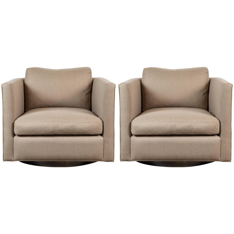 Pair of Curved Back Swivel Chairs by Lawson-Fenning 1