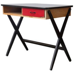 1954, Coen de Vries for Devo Wooden Writing Desk with Red Drawer and Formica Top