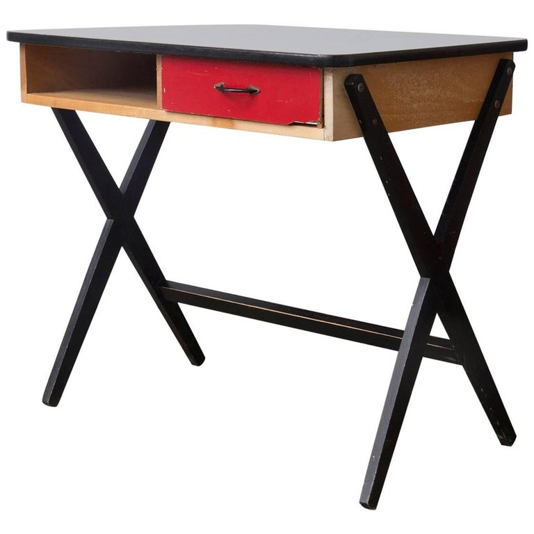 1954, Coen de Vries for Devo Wooden Writing Desk with Red Drawer and Formica Top For Sale