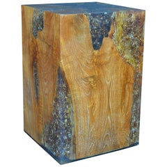 Wood Stool Encased in Resin