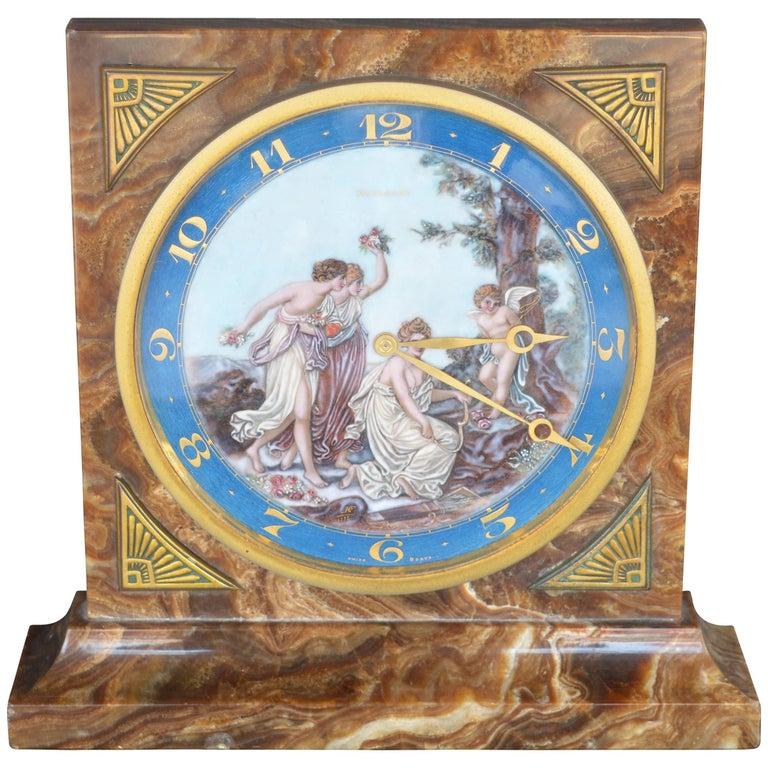 Art Deco Onyx Clock For Sale