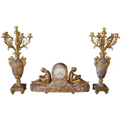 19th Century Gilt Bronze Ormolu and Marble Clockset