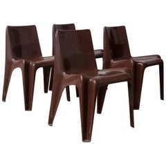 1969, Vico Magistretti for Artemide, Set of Four Brown Chairs
