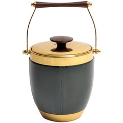 Italian Brass Leather and Rosewood Accented Ice Bucket