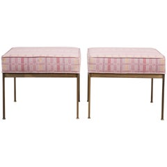 Pair of Square Brass Ottomans by Lawson-Fenning