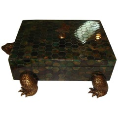 Maitland-Smith Penshell and Brass Turtle Box