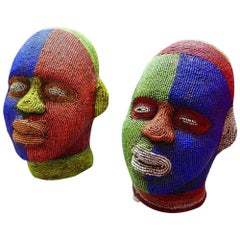 African Ibibio Beaded Head Masks, Pair