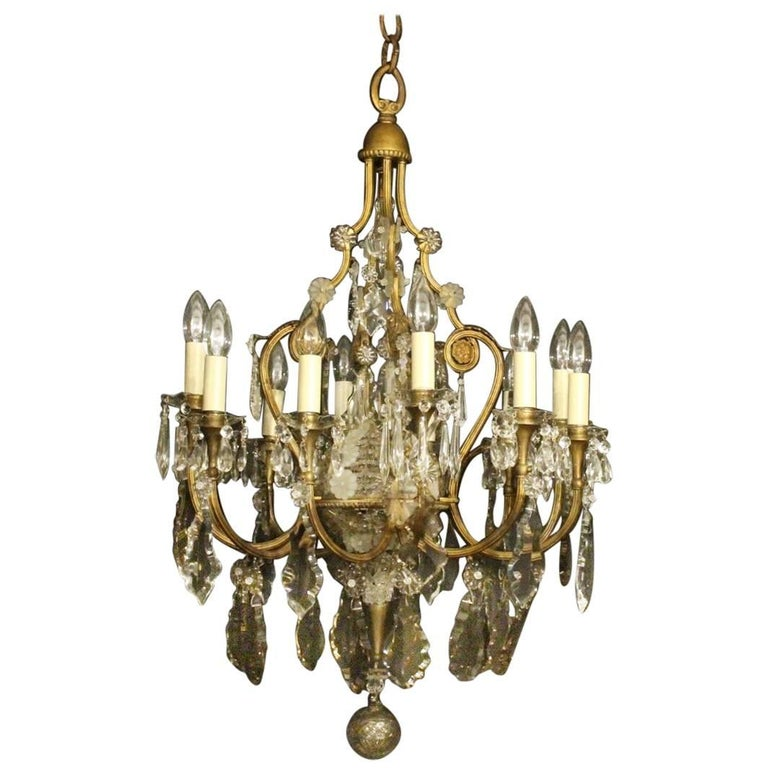French Gilded Crystal And Bronze Twelve Light Antique