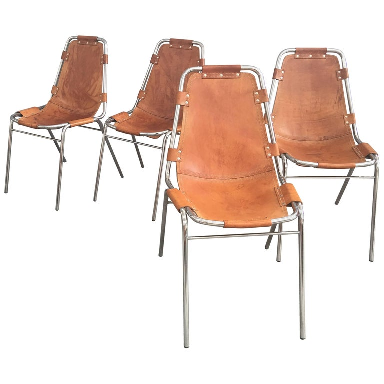 Set of Four Les Arcs Chairs by Charlotte Perriand