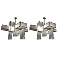 Pair of Italian Modernist Chandeliers Sky Scraper Design