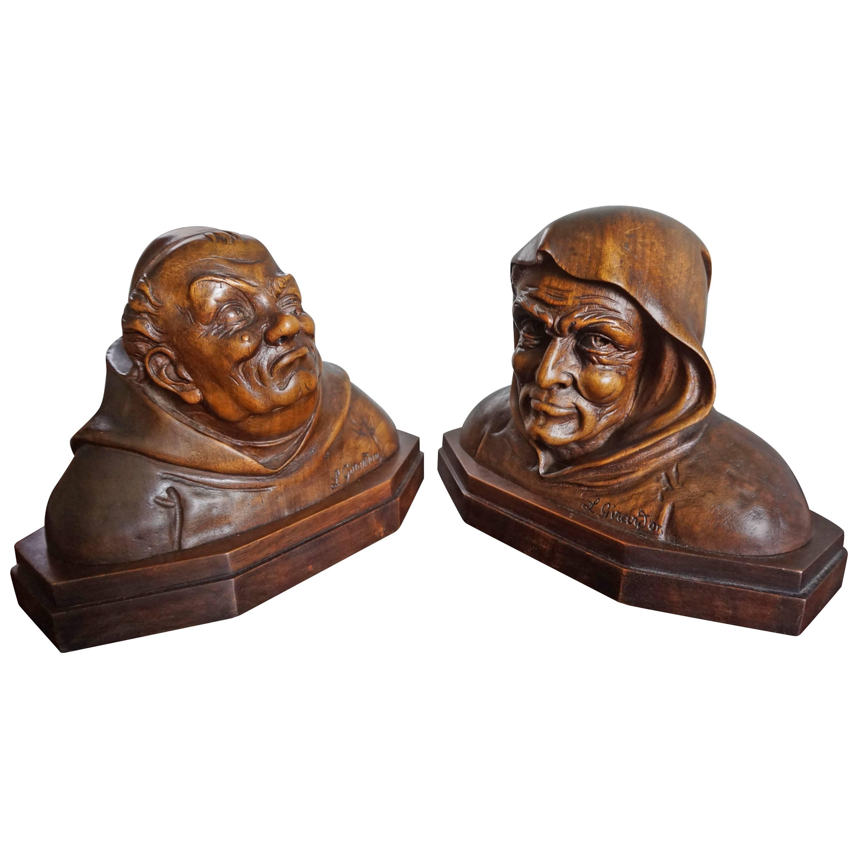 Pair of Antique Hand Carved Renaissance Revival Caricature Monk Sculptures