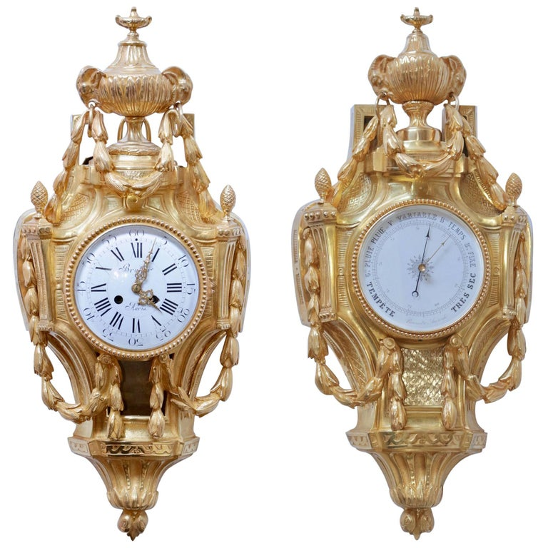 Set of Two Pieces, One Wall Clock and One Barometer 1