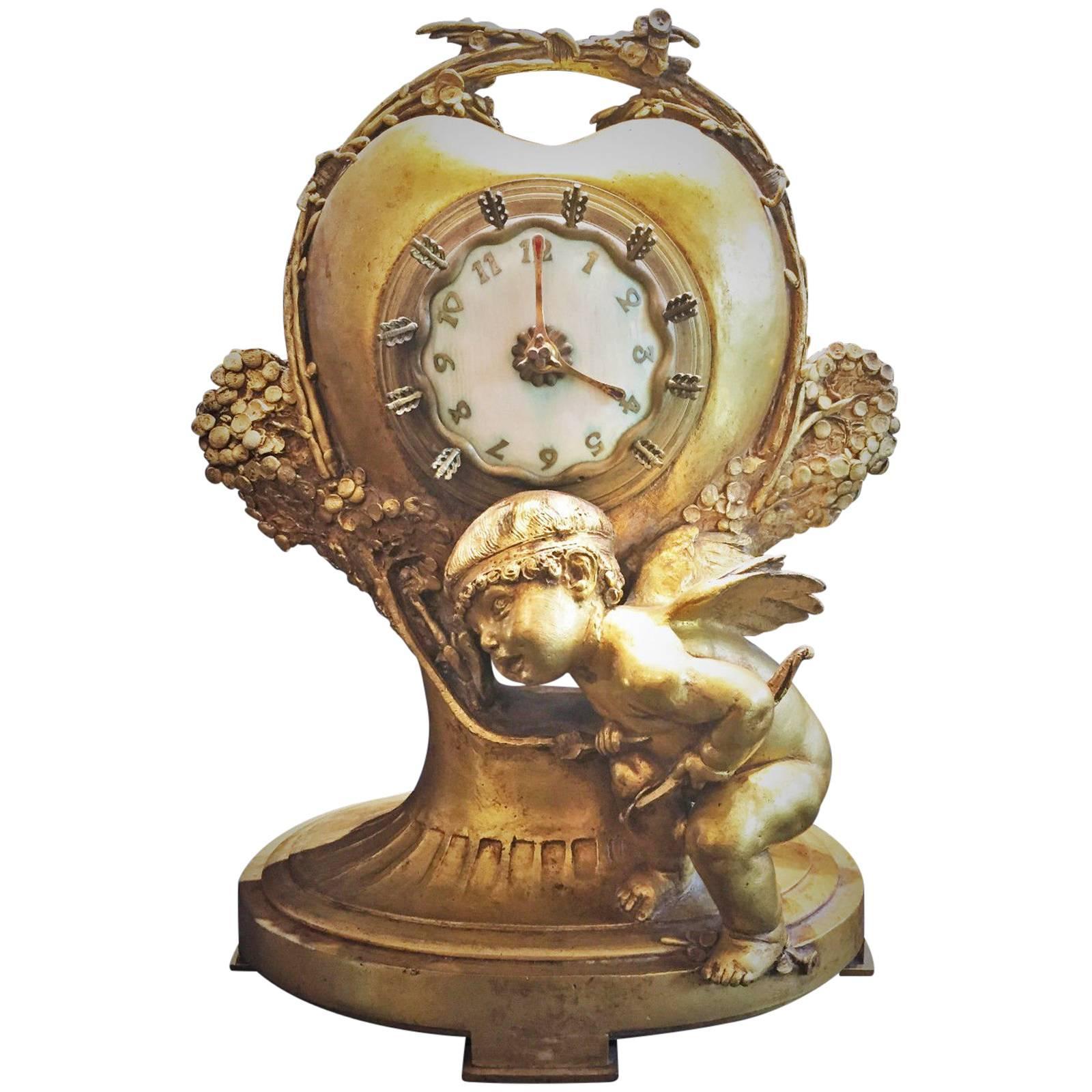 Max Blondat, French Art Nouveau Gilt Bronze Timepiece, 1914