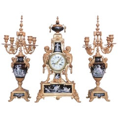 Mantel Clock with Two Candelabra