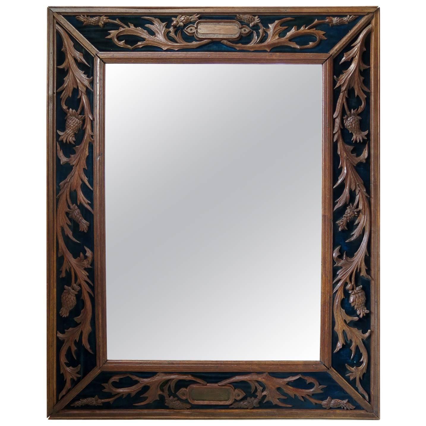 Carved Napoleon III Oak and Velvet Mirror, France, 19th Century