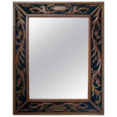 Carved Napoleon III Oak and Velvet Mirror, France, 19th Century