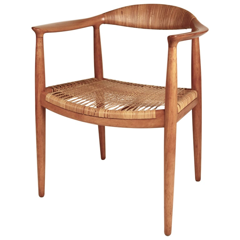 "Hans J. Wegner, ""The Chair"", JH501, Mahogany and Cane, 1949 For Sale"