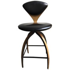 Plycraft of Early Bentwood Swivel Bar Stool Designed for Norman Cherner