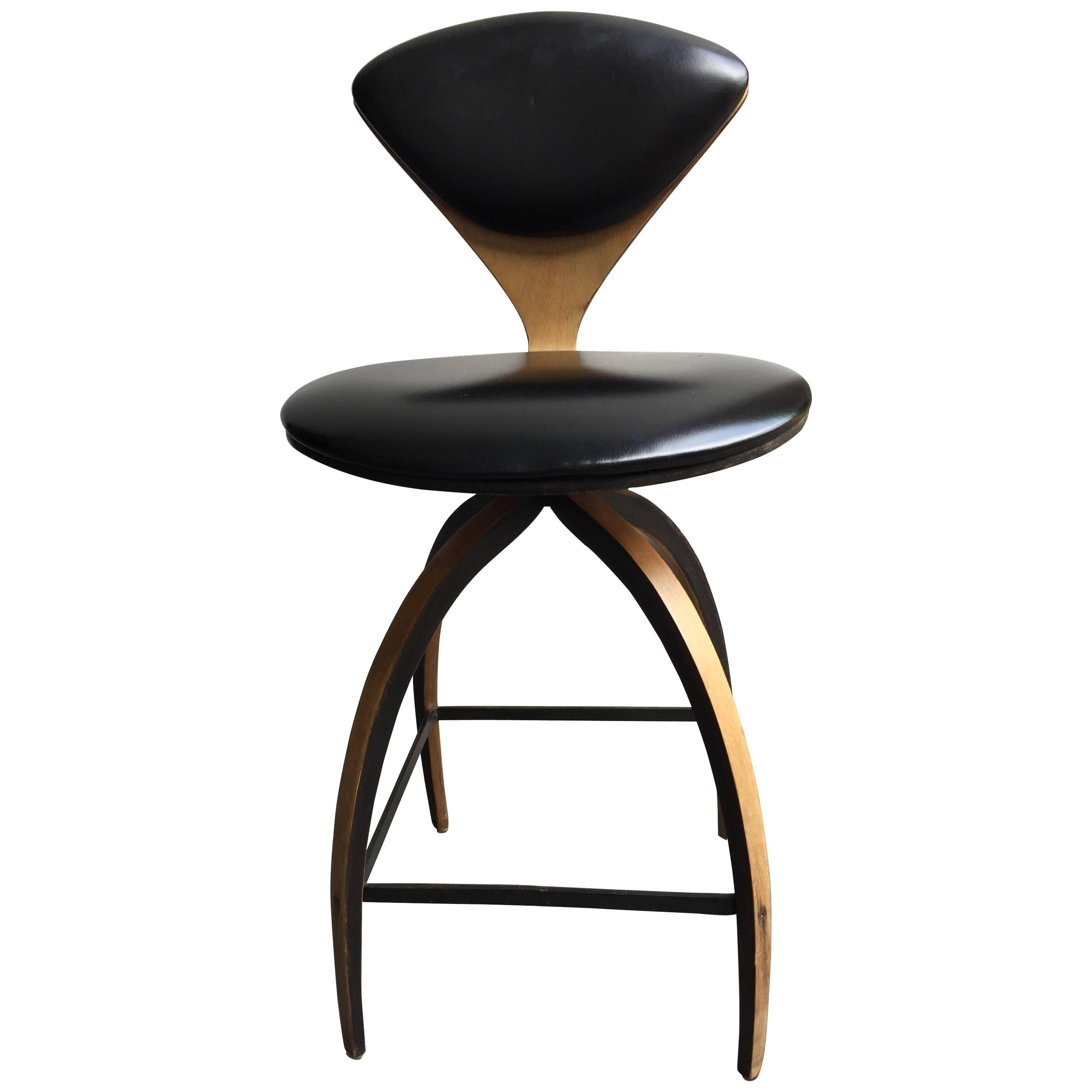 plycraft of early bentwood swivel bar stool designed for norman cherner 1