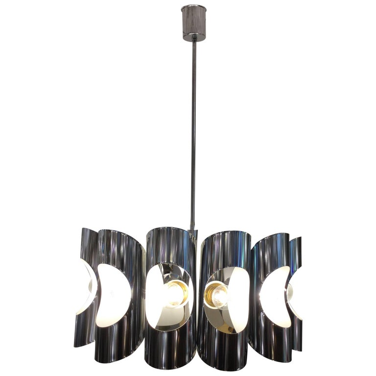 Italian Chandelier in Stainless Steel, 1970