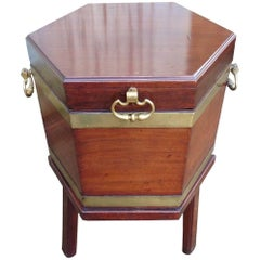 Georgian Mahogany and Brass Wine Cooler, Cellarette