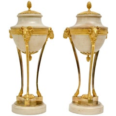 Pair of Louis XVI Gilt Bronze and White Marble Urns