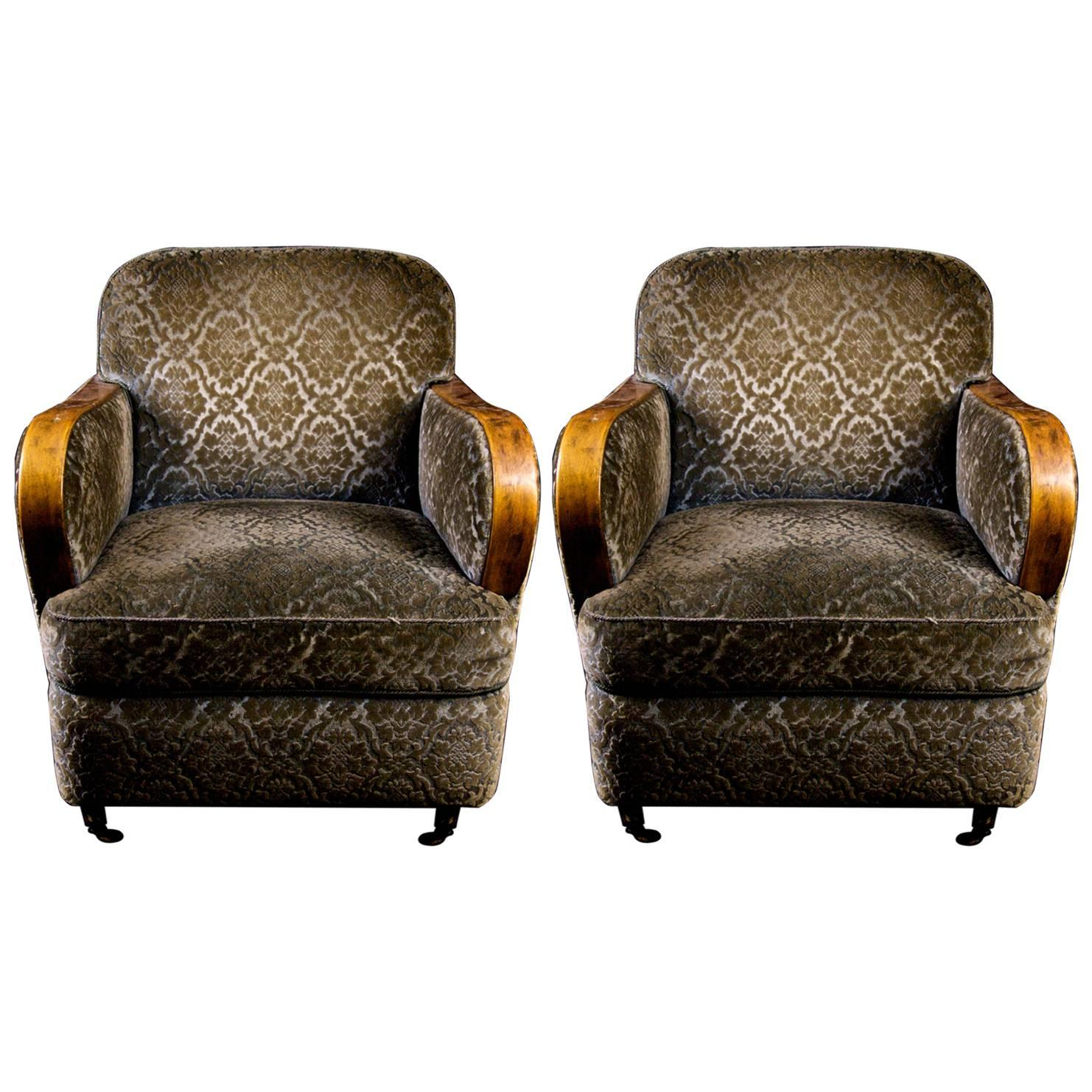 Art Deco Swedish Antique Armchairs Deep Padded Bentwood Arms Early 20th  Century For Sale