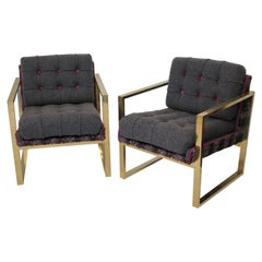 Pairs of Mid-Century Brass and Fabric Italian Armchairs, 1950
