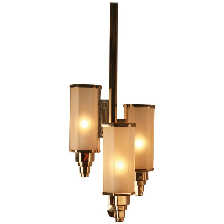 French Art Deco Glass and Nickel Chandelier