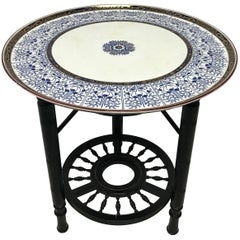 Rare Anglo-Japanese Side Table with the Original Royal Worcester Porcelain Plate