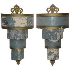 Pair of Art Deco Electrified Metal Sconces
