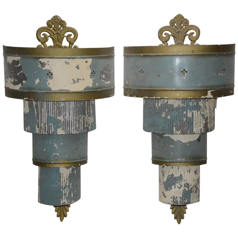 Pair of Art Deco Electrified Metal Sconces