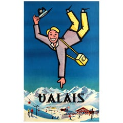 Original Vintage Skiing and Winter Sports Resort Poster for Valais Switzerland