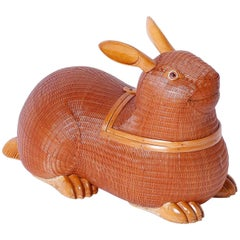 Mid-Century Wicker and Wood Rabbit Sculpture or Box