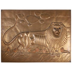 Sergio Bustamante Brass Plaque with Lions