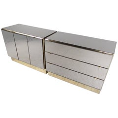 Pair of Vintage Modern Mirrored Cabinets by Ello Furniture