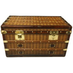 Louis Vuitton Rayee / Striped Courier Trunk, Rare Model