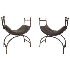 Pair of Vintage Bamboo Metal Benches