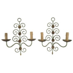 Pair of French Wrought Iron Two-Light Art Moderne Sconces