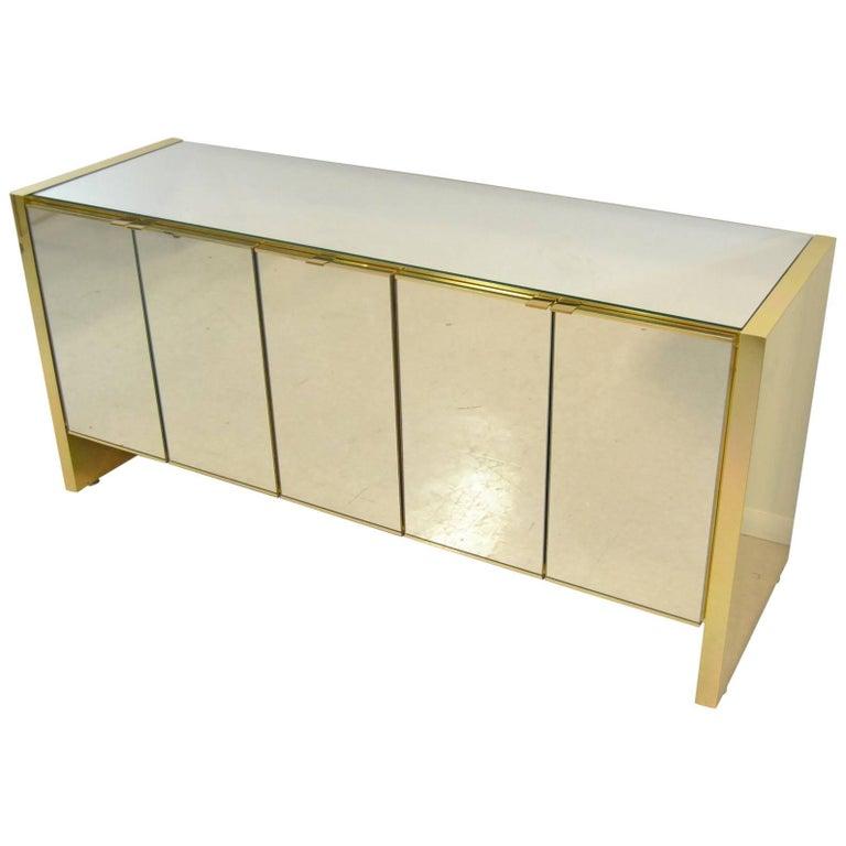 Mid-Century Ello Mirrored and Brass Credenza Sideboard