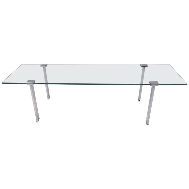 Vintage modern chrome and glass cocktail table for sale at for Contemporary glass cocktail tables