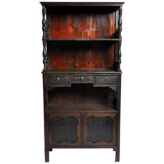 Chinese Scholar's Book Cabinet with Three Drawers and Original Patina